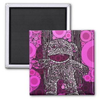 Funky Sock Monkey Circles Bubbles Pop Art Magnet