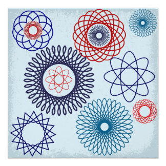 Funky Spirograph Geometric Pattern Blue Red 13 Cm X 13 Cm Square Invitation Card