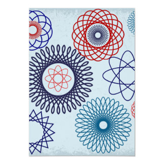Funky Spirograph Geometric Pattern Blue Red 13 Cm X 18 Cm Invitation Card