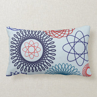 Funky Spirograph Geometric Pattern Blue Red Lumbar Pillow