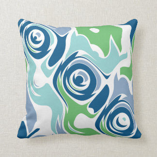 Funky Spring Blues Throw Pillow