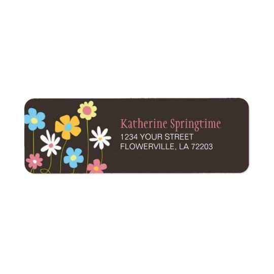 Funky Spring Flowers Return Address Label
