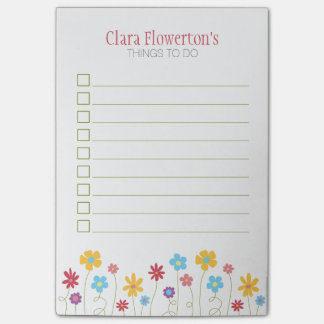 Funky Spring Flowers To Do List Post-it Notes