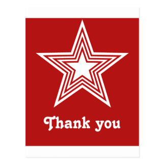 Funky Star Sweet 16 Flat Thank You Note Card, Red Postcard