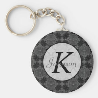 Funky Steampunk Metal Abstract Geometric Pattern Basic Round Button Key Ring