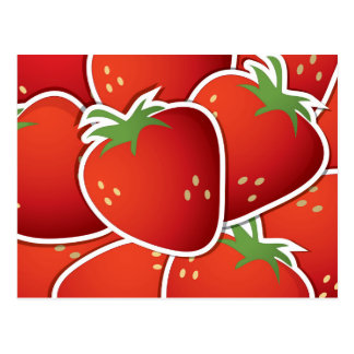 Funky strawberries postcard