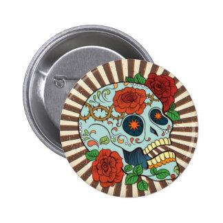Funky Sugar Skulls Dia de los Muertos 6 Cm Round Badge