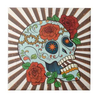 Funky Sugar Skulls Dia de los Muertos Tile