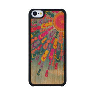 Funky Summer Sun Flip-Flops Rays Carved® Cherry iPhone 5C Case