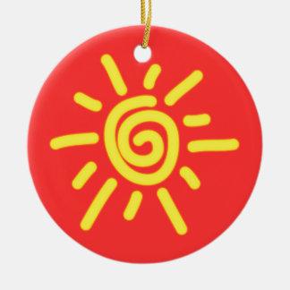 Funky Sun Ceramic Ornament