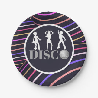 Funky Swirls Disco Theme 70's Party 7 Inch Paper Plate