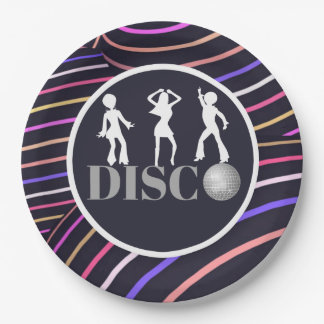 Funky Swirls Disco Theme 70's Party 9 Inch Paper Plate