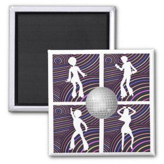 Funky Swirls Disco Theme 70's Square Magnet