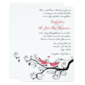 Funky Swirly Pink Love Bird Tree Wedding Invites
