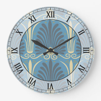 funky taupe and blue ancient damask roman numerals large clock