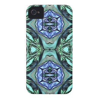 Funky Teal Lilac Artistic Pattern iPhone 4 Case-Mate Cases
