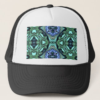 Funky Teal Lilac Artistic Pattern Trucker Hat