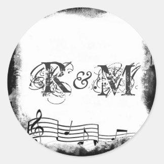 Funky Torn Paper Music Seals Round Sticker