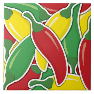 Funky traffic light chilli peppers tile