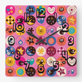 Funky Trendy Retro Abstract Pattern Wall Clocks