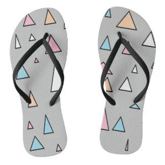 Funky Triangles Pastel Colors Flip Flops Thongs