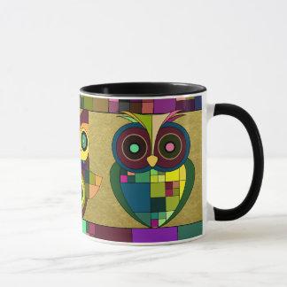 Funky Tribal Aztec Owls on Faux Gold Foil Mug