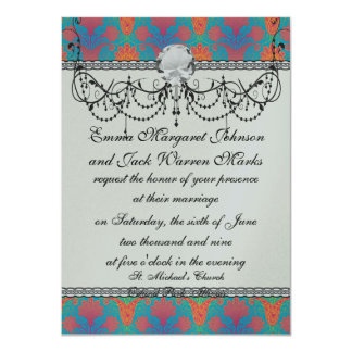 funky tropical colors damask 11 cm x 16 cm invitation card