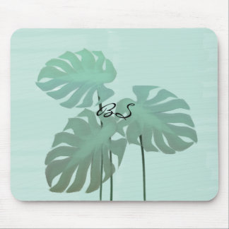 Funky Tropical Leaves Watercolor Art Mousepad