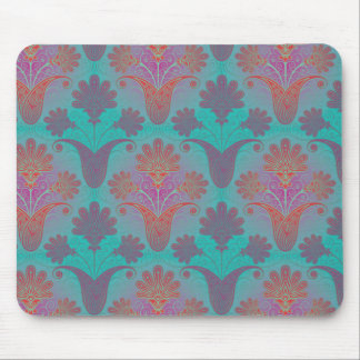 funky turquoise and magenta  damask mouse pad