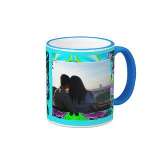 Funky Turquoise Fractal Photo Template Ringer Mug
