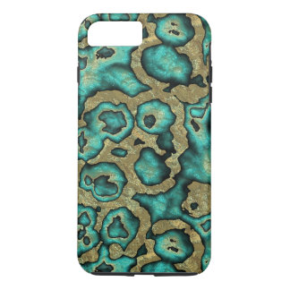 Funky Turquoise Green Faux Gold Swirls Pattern iPhone 8 Plus/7 Plus Case