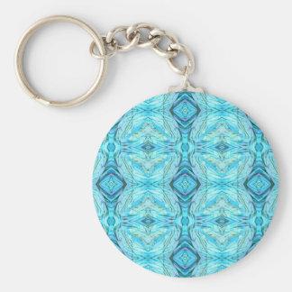 Funky Turquoise Modern Pattern Key Ring