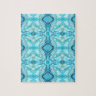 Funky Turquoise Modern Pattern Puzzle