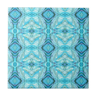 Funky Turquoise Modern Pattern Tile