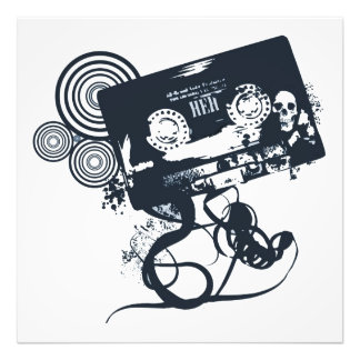 Funky vector cassette photo print