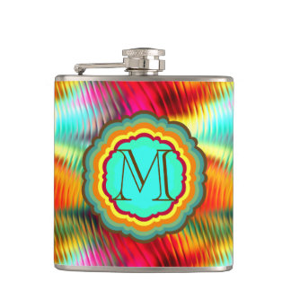 Funky, Vibrant Rainbow Monogram Hip Flask