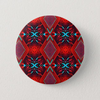 Funky Vibrant Red Turqouise Artistic Pattern 6 Cm Round Badge