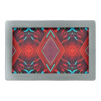 Funky Vibrant Red Turqouise Artistic Pattern Belt Buckles