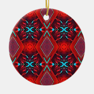 Funky Vibrant Red Turqouise Artistic Pattern Ceramic Ornament