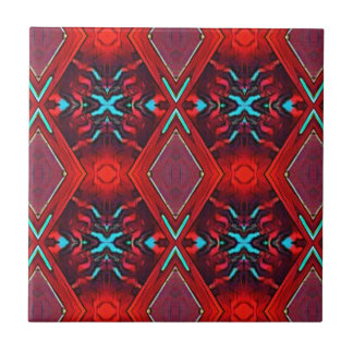 Funky Vibrant Red Turqouise Artistic Pattern Ceramic Tile