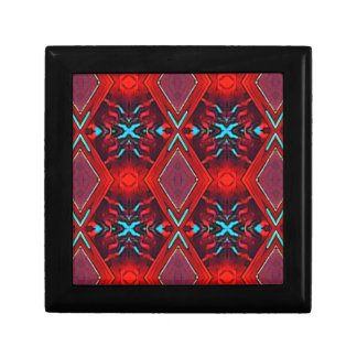 Funky Vibrant Red Turqouise Artistic Pattern Gift Box