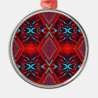 Funky Vibrant Red Turqouise Artistic Pattern Metal Ornament