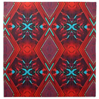 Funky Vibrant Red Turqouise Artistic Pattern Napkin