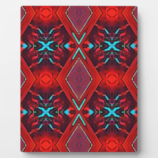 Funky Vibrant Red Turqouise Artistic Pattern Plaque