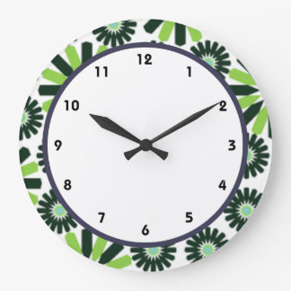 funky vintage retro green flower round clock