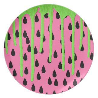 Funky Watermelon Neon Green Paint Drips Plate