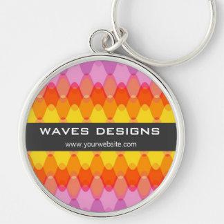 Funky Waves 01 Magenta Yellow Custom Keychain