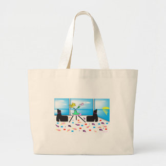 Funky Whimsical Colorful Miami, Graphic Large Tote Bag