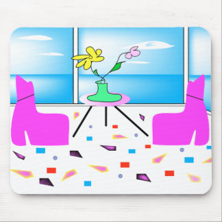 Funky Whimsical Colorful Miami, Graphic Mouse Pad