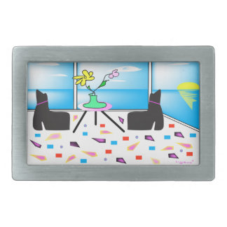 Funky Whimsical Colorful Miami, Graphic Rectangular Belt Buckles
